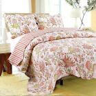 Flowers in Paradise 100% Cotton Twin Size 2-Piece Quilt set, Bedspread, Coverlet image
