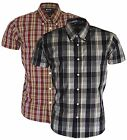 Relco Short Sleeved Black & Burgundy Button Down Collar Mod Skinhead Ska Shirt