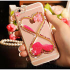 Cute Bling Diamond Flower Liquid Flowing Love Hourglass Funnel Phone Case Cover