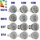 8x E27 E14 MR16 GU10 9W 12W 15W LED Spotlight Light Lamp Bulb Warm/Cool white