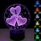 3D 7 Color Changed USB Acrylic Plug in Desk Lamp + Remote Control Christmas Gift