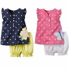 Baby Toddler Girl Cute Flower/Butterfly Vest Top+Pants Outfit Clothes Set