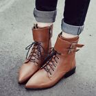 Casual Women's Lace Up Strap Buckle Pointy Toe Military Flat Oxfords Ankle Boots