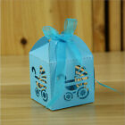 10x Laser Cut Carriage Gift Candy Boxes Favour Baby Shower Pearlescent 3 Colours