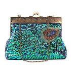 Vintage Sequined Bead Wedding Bridal Party Evening Purse Lady Clutch Bag Handbag