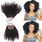 """8A Afro Kinky Curly Frontal Lace Closure Brazilain Human Hair 4x4"""" Lace Closure"""