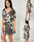 Monochrome Black and White Belted V-Neck Shift Casual Dress With Tropical Print