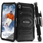 iPhone X & XS Case, Evocel Rugged Dual Layer Holster Case w/ Kickstand & Clip