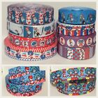 1m CAT IN THE HAT GROSGRAIN RIBBONS -  22mm/25mm/38mm/50mm/75mm wide