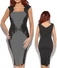 Women Black Grey Party Embroidery Work Career Dress Size 8 10 12 14 16 18 20 NEW