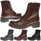 WOMENS SHOES LADIES ANKLE BOOTS SHOES BIKER COMBAT ARMY LACE UP PUNK STUDDED NEW