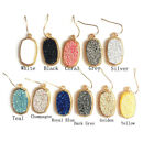 KvE226 New Framed Etched Oval Multi Druzy Glitter Stone Statement Drop Earrings image