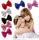 """3"""", 4"""", 5"""", 6"""" Big Messy Glitter Sequin Novelty Bow Hair Alligator Clip Clips"""