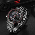 Men's Quartz LED Digital Stainless Steel Stopwatch Alarm Waterproof Wrist Watch image