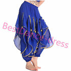 US2 Belly dance Gold Wavy Pants Skirt Indian Tribal Outfit Harlan Yoga pants