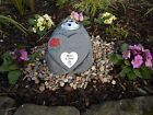 Mam and Dad Memorial Stone Heart with Rose, Plaque and Flowervase Holder Garden