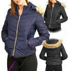 New Womens Quilted Jacket Padded Fur Hood Coat Ladies Parka Sizes 8 10 12 14 16