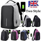 Unisex Anti-Theft Backpack Laptop Sport Travel Haking Oxford Bags + USB Charging