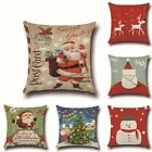 christmas pillow cases - Christmas Theme Cotton Linen Pillow Cases Waist Throw Cushion Cover 45x45cm