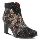 New L'Artiste Women's LIDIA-BM Black Hand Painted Leather Booties