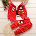 3pcs Kids Baby Boys Girls Outfit Set Mickey Mouse Coat + T Shirt + Pants Clothes