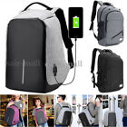 Fashion Unisex Anti-Theft Backpack School  Travel Camping Bag Laptop USB Charger