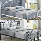 Metal Bed Frame Queen Platform Bedroom Furniture Double King Single Black White