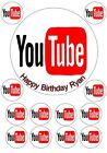 FUN YOU TUBE LOGO Edible Cup Cake Topper Icing / Wafer Birthday Decoration