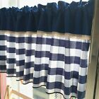 Village Blue grid cotton block Home Kitchen window Cafe Curtain 16040402