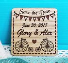 Rustic Vintage Bicucle Wedding Save the Date Magnet Wooden Engraved Invitation