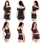 Womens Wet Look Off Shoulder Pu Hook Lace Trim PVC Crop Top Short 2 Piece Set