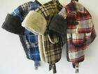 Mens Blue / Red Checkard Design Trapper Hat With Sherpa Lining GL223