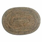 Set of 4 or 6 Oval Grey Woven Wicker Rattan Placemats