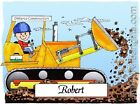 PERSONALIZED CUSTOM CARTOON PRINT - BULLDOZER - GREAT GIFT IDEA! FREE S/H