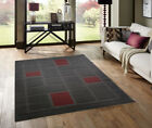 SMALL - LARGE GREY & RED THICK PILE MODERN QUALITY SQUARES BLOCKS CARVED RUGS