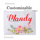 Personalised canvas makeup bag custom cosmetic bag wedding bridesmaid party gift