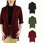 Womens 3/4 Turn Up Sleeve Front Pocket Casual Open Front Collar Blazer Jacket
