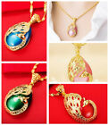 1pc Water Drop Shaped Opal Peacock Pendant Necklace For Women 5 Colors to Choose