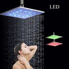 Shower Head Chrome Brass LED Colorful Square Rainfall Ceiling Mount Mixer Tap