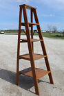 "56""t Vintage Wood Ladder Transformed Into Shelving - Rustic Display - 30 Colors"