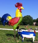 """96"""" Recycled Metal Rooster Farm Yard Art Lawn Accents in 2 Colors"""