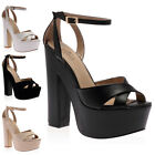 NEW WOMENS CHUNKY PLATFORM LADIES BLOCK HIGH HEEL SANDALS SHOES SIZE 3-7