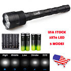 Tactical 3X XML-T6 48000LM 5-mode LED Flashlight Lamp 18650 charger US Stock