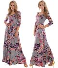 Long Summer Autumn Dress 3/4 Sleeve Floral Pattern Shades of Purple Pink UK 10