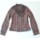 Sisley Girls Red and Green Check Frill Shirt/Blouse Size 7-8