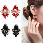 Charm Womens Crystal Jewelry Elegant Rhinestone Ear Stud Clip On Earrings Gifts