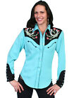 Scully Western Womens Turquoise Polyester L/S Horseshoe Western Shirt
