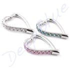 Surgical Steel HINGED HEART RING  Made With SWAROVSKI GEMS Daith Tragus Ear Bar