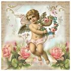 Whimsy Dust Cherub & Roses Collage Fabric Block Multi Szs FrEE ShiP WoRld Wide