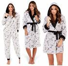 Ladies All In One Suit Dressing Gown LUXURY Fleece Hood Grey PROSECCO Novelty